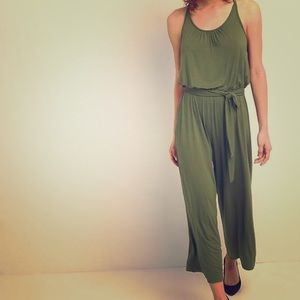 NWT! GAP Halter Neck Jumpsuit Olive Green Size M